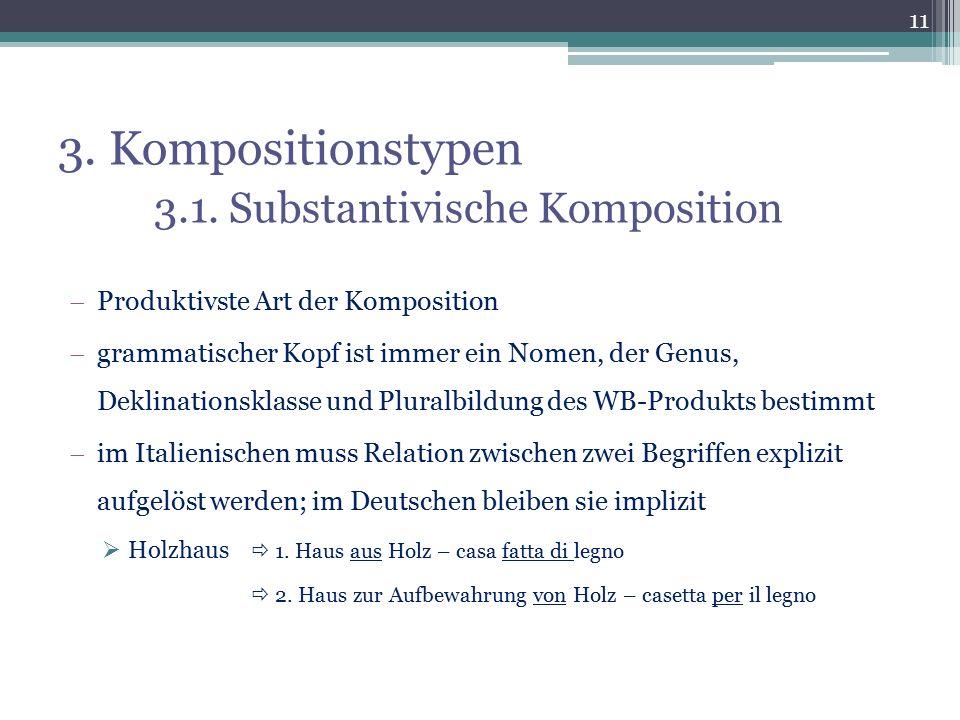 3. Kompositionstypen 3.1. Substantivische Komposition