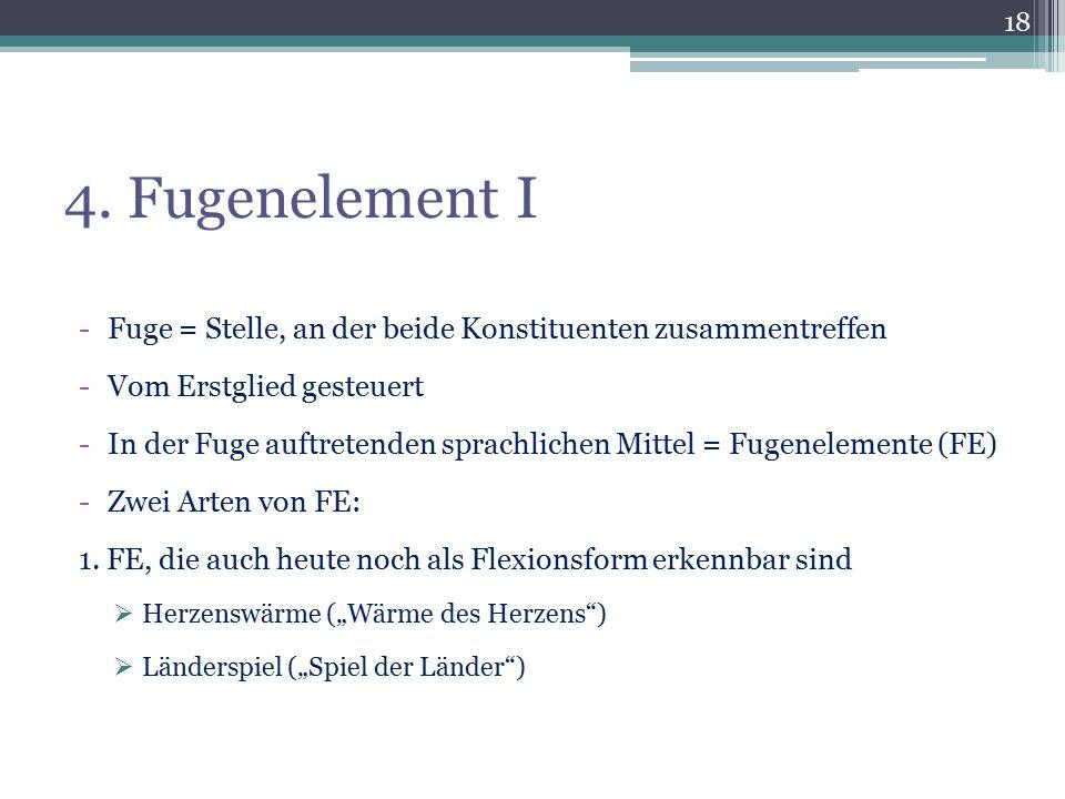 4. Fugenelement I Fuge = Stelle, an der beide Konstituenten zusammentreffen. Vom Erstglied gesteuert.