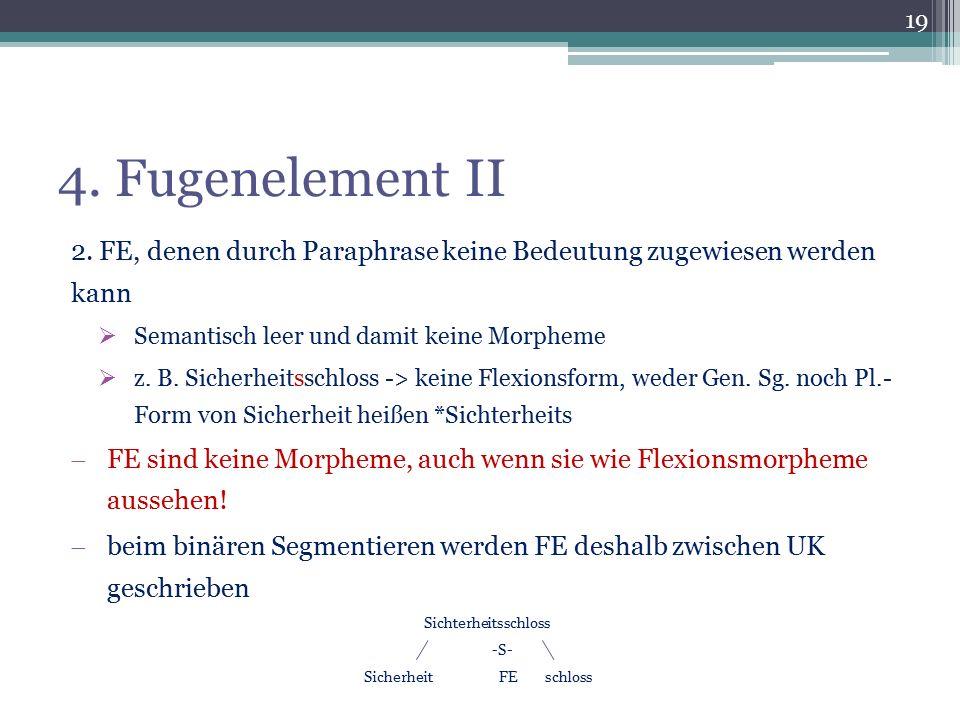 4. Fugenelement II 2. FE, denen durch Paraphrase keine Bedeutung zugewiesen werden kann. Semantisch leer und damit keine Morpheme.