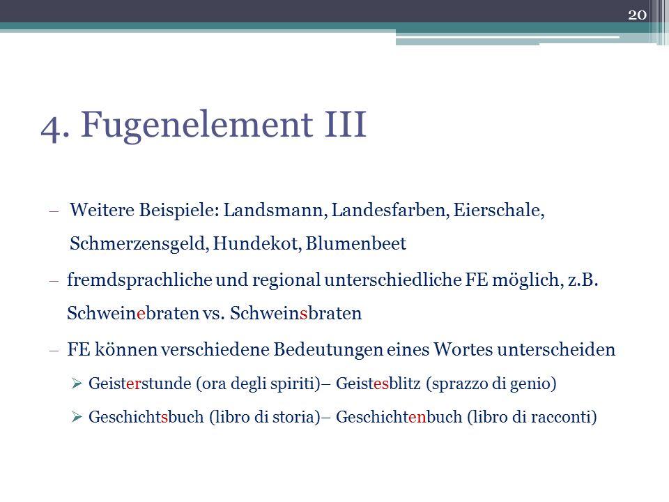 4. Fugenelement III Weitere Beispiele: Landsmann, Landesfarben, Eierschale, Schmerzensgeld, Hundekot, Blumenbeet.