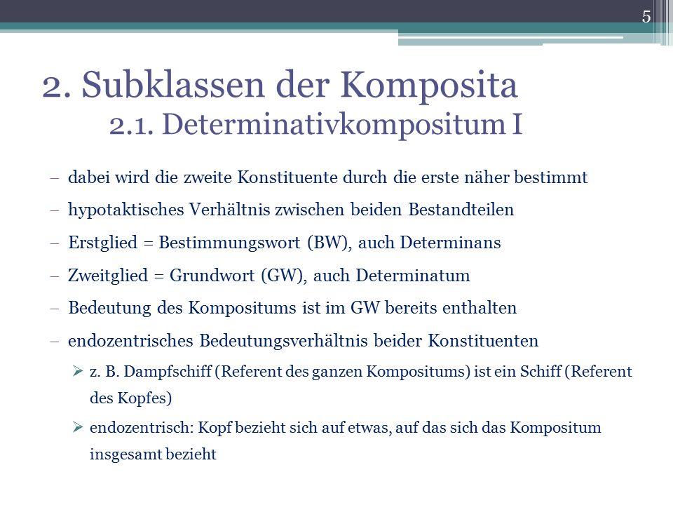 2. Subklassen der Komposita 2.1. Determinativkompositum I