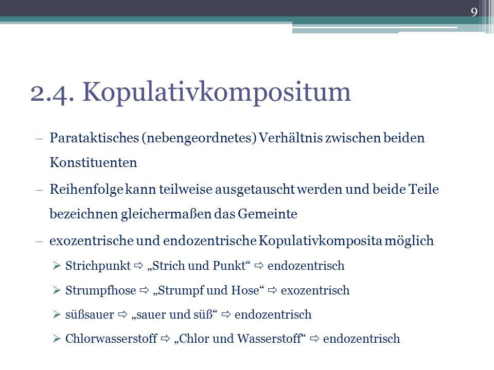 2.4. Kopulativkompositum Parataktisches (nebengeordnetes) Verhältnis zwischen beiden Konstituenten.