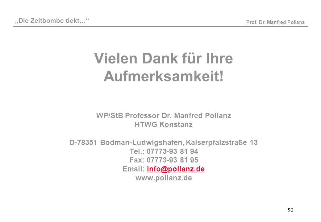 Vielen Dank für Ihre Aufmerksamkeit. WP/StB Professor Dr