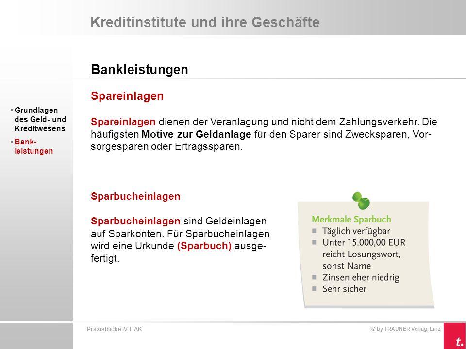 Kreditinstitute und ihre Geschäfte