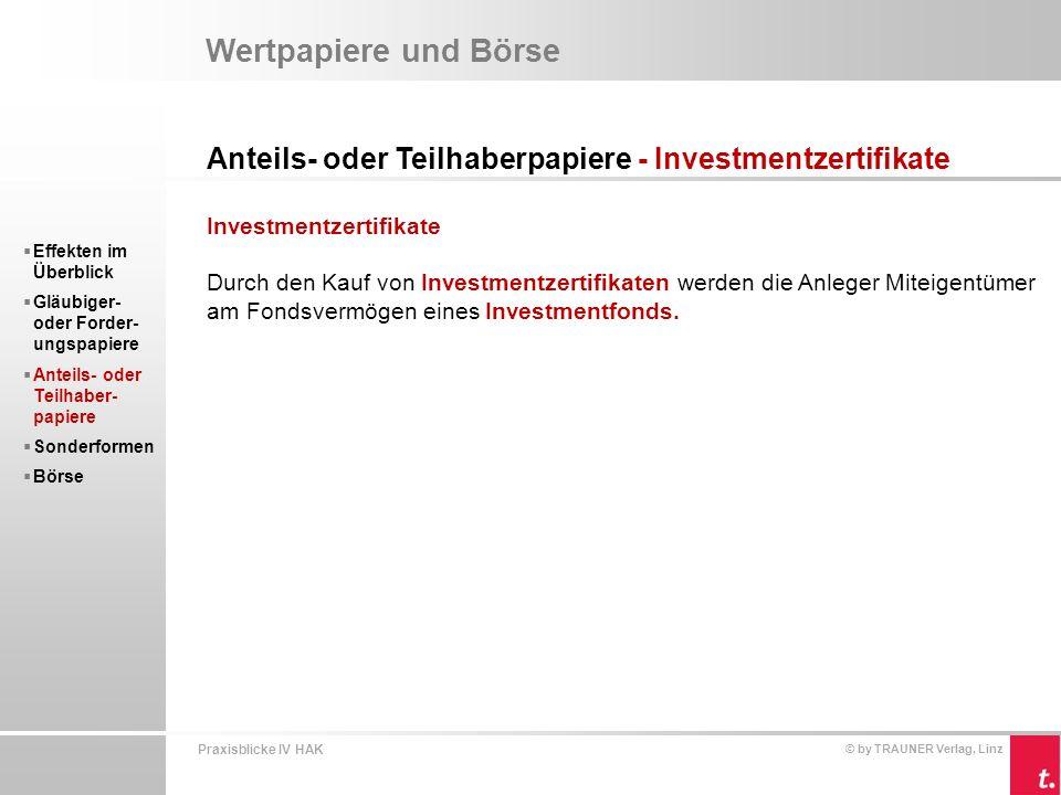 Wertpapiere und Börse Anteils- oder Teilhaberpapiere - Investmentzertifikate. Investmentzertifikate.