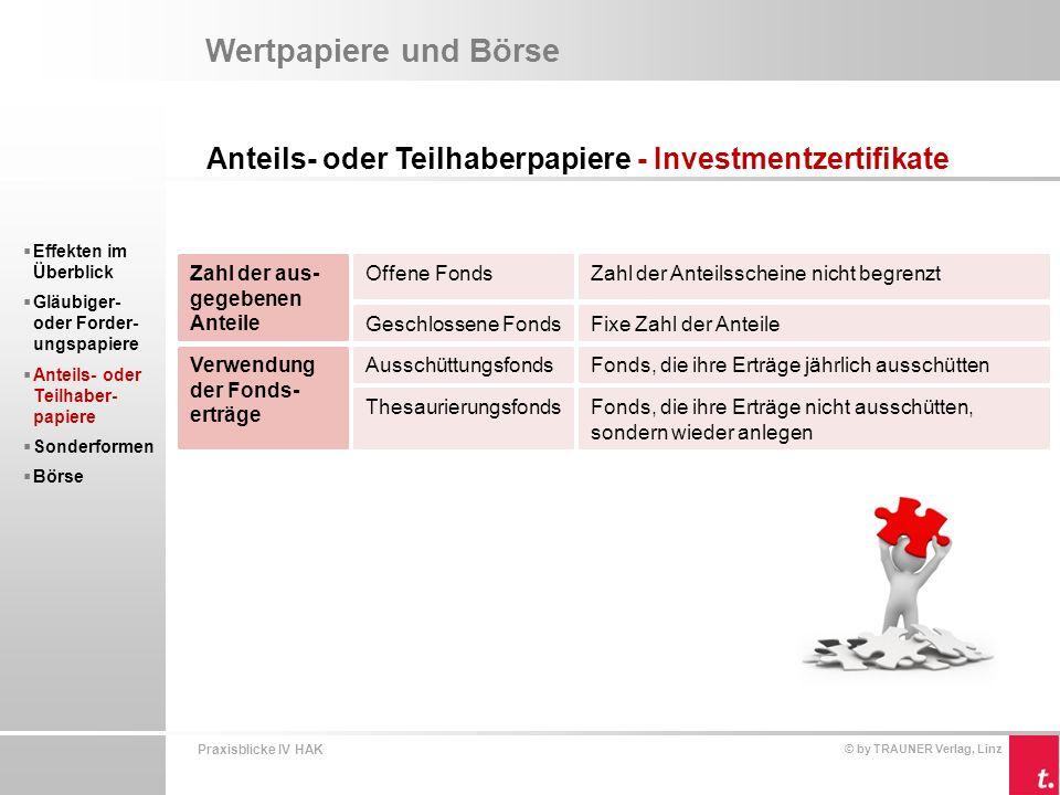 Wertpapiere und Börse Anteils- oder Teilhaberpapiere - Investmentzertifikate. Effekten im Überblick.