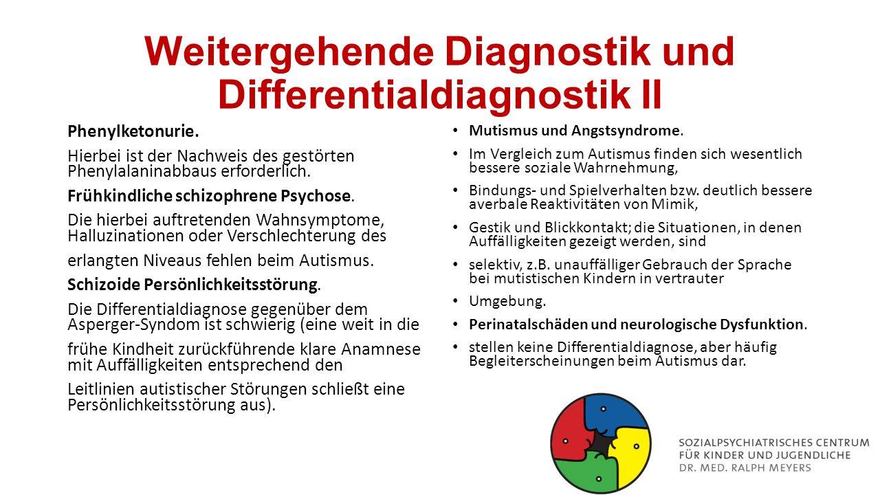 Weitergehende Diagnostik und Differentialdiagnostik II
