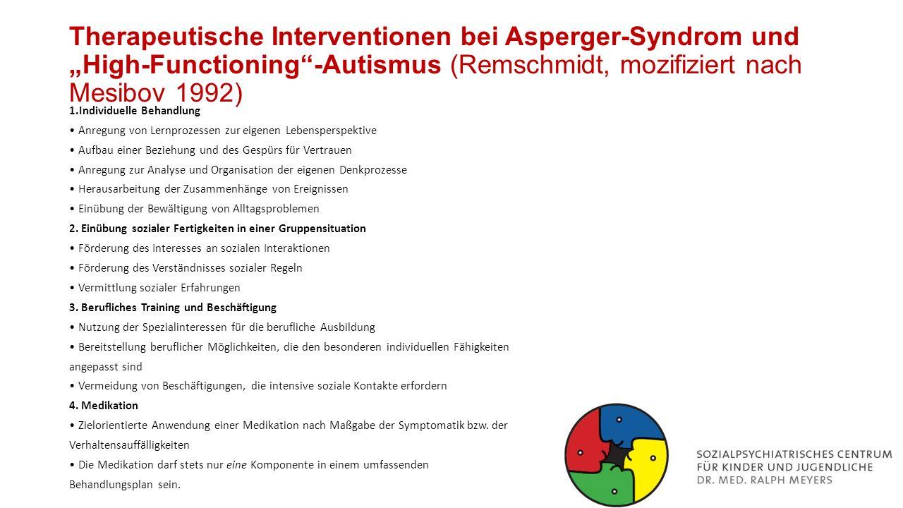 """Therapeutische Interventionen bei Asperger-Syndrom und """"High-Functioning -Autismus (Remschmidt, mozifiziert nach Mesibov 1992)"""