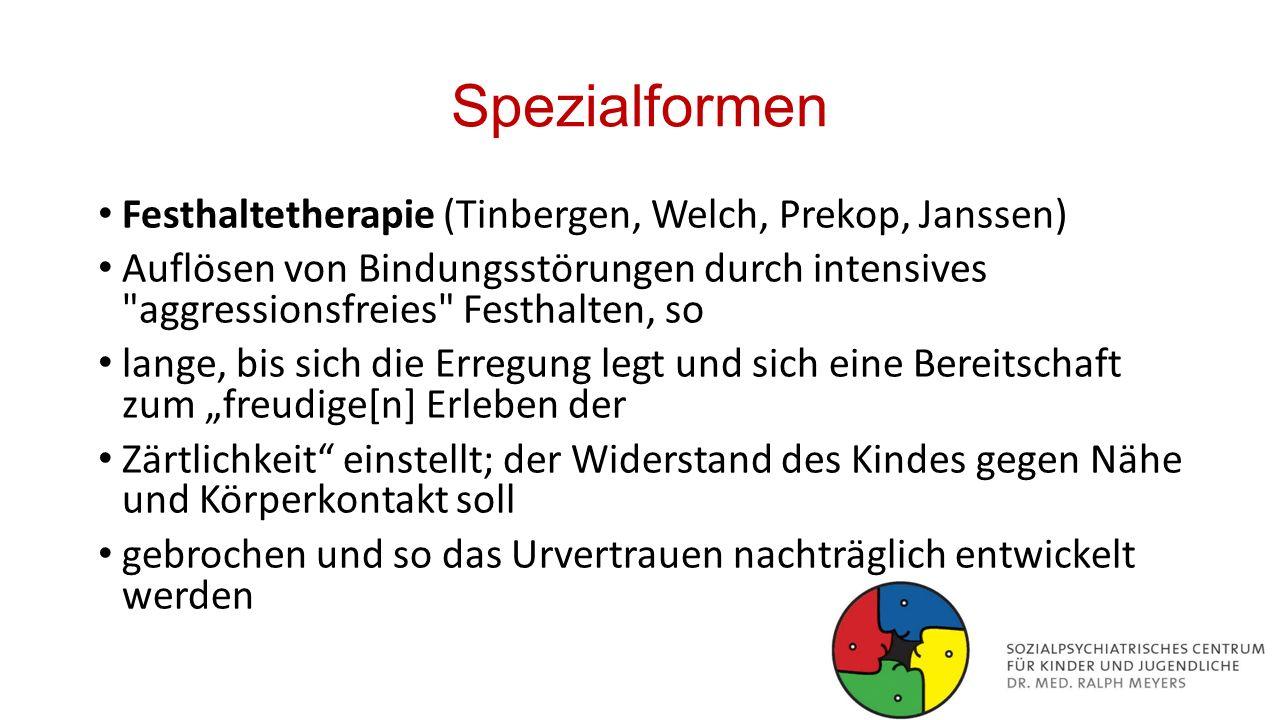 Spezialformen Festhaltetherapie (Tinbergen, Welch, Prekop, Janssen)