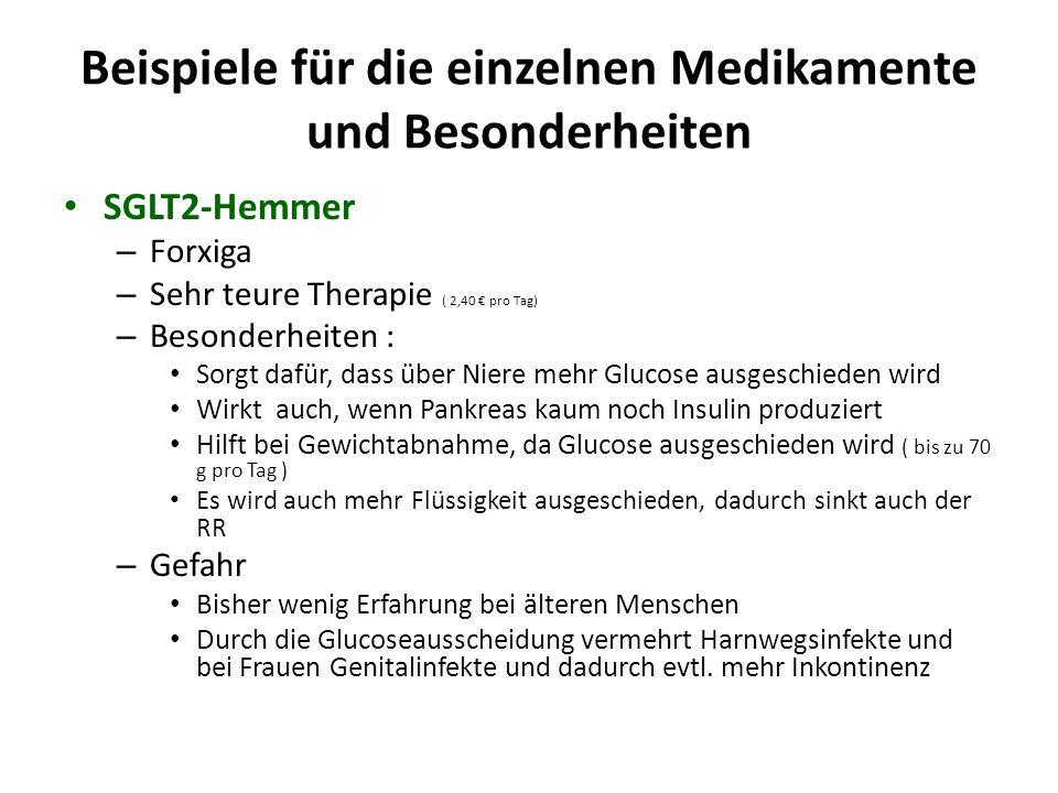 Beispiele für die einzelnen Medikamente und Besonderheiten