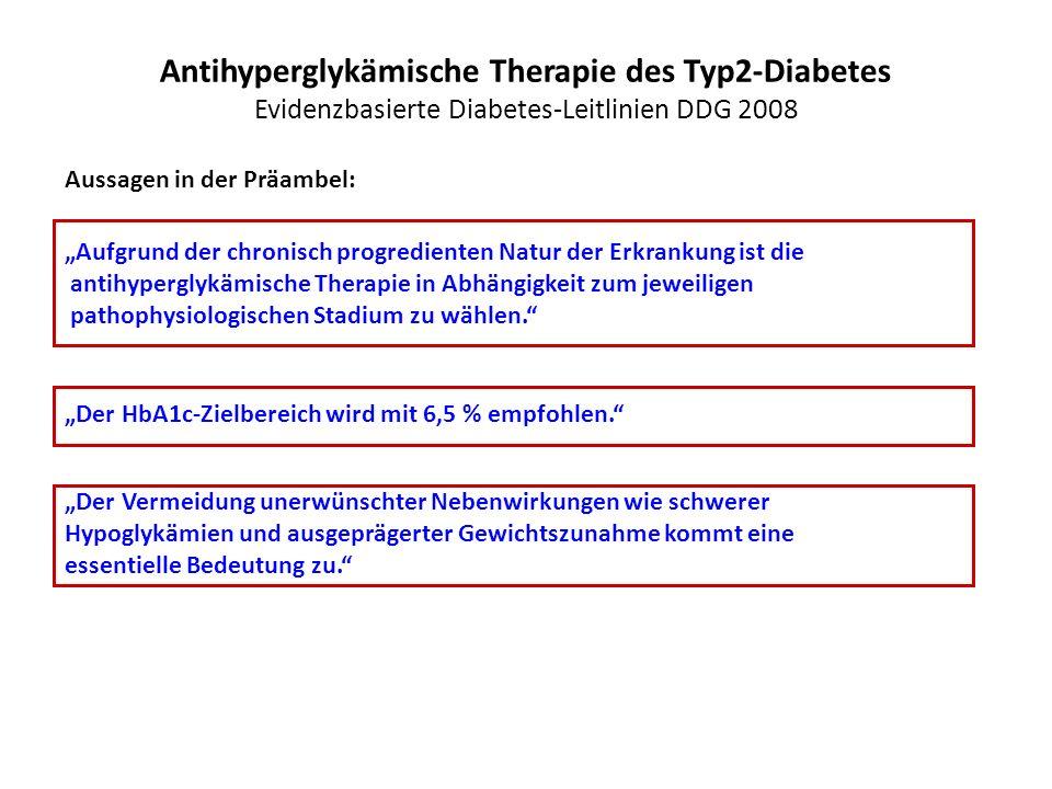 Antihyperglykämische Therapie des Typ2-Diabetes Evidenzbasierte Diabetes-Leitlinien DDG 2008
