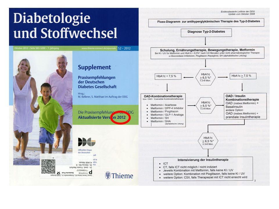 Wie sehen die Leitlinien zum Einsatz der bekannten einsetzbaren Antidiabetika aus.
