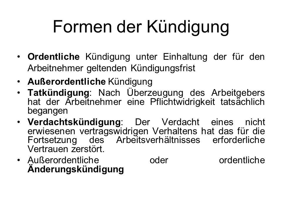 Formen der Kündigung Ordentliche Kündigung unter Einhaltung der für den Arbeitnehmer geltenden Kündigungsfrist.