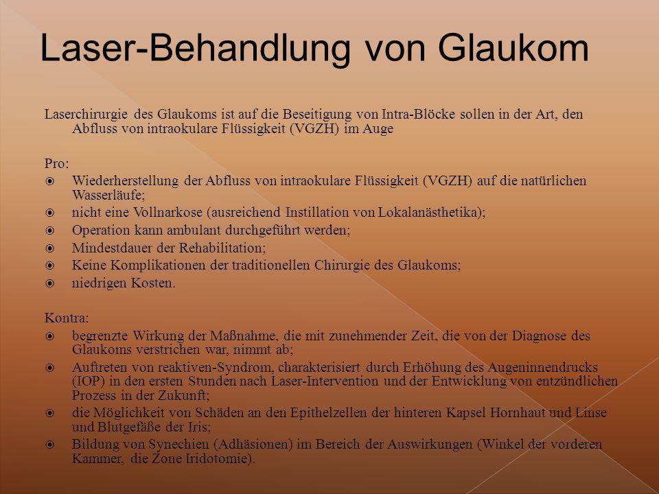 Laser-Behandlung von Glaukom