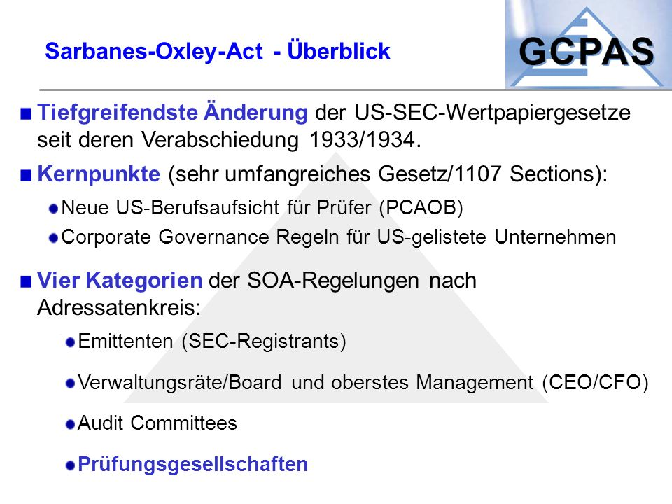 Sarbanes-Oxley-Act - Überblick