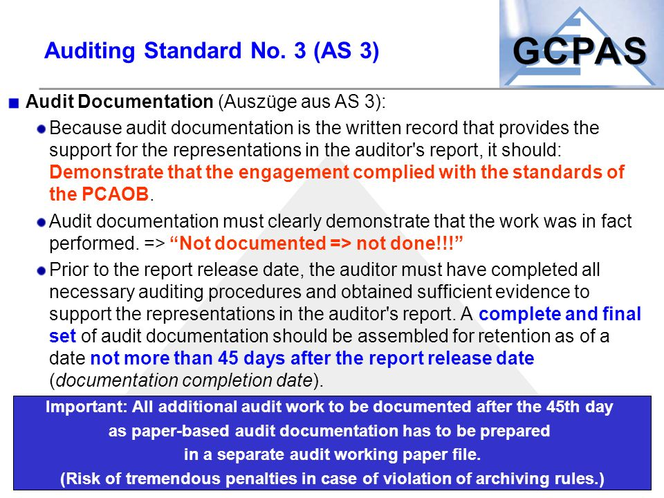 Auditing Standard No. 3 (AS 3)