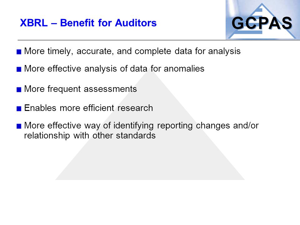 XBRL – Benefit for Auditors
