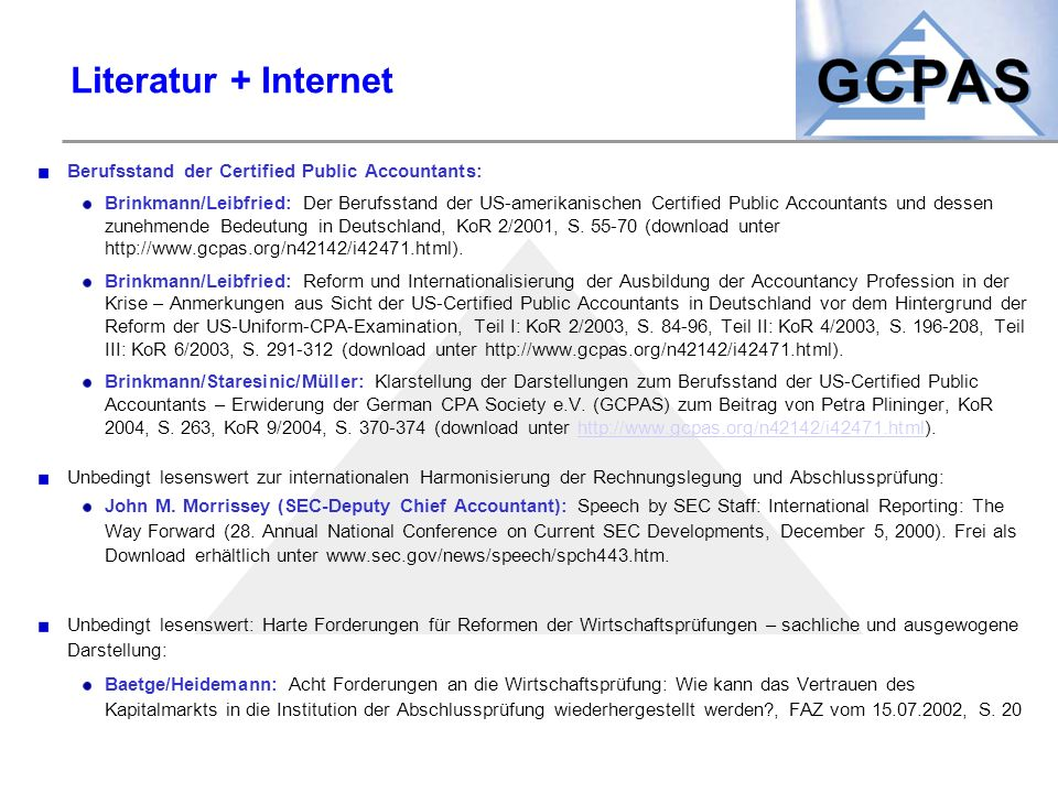 Literatur + Internet Berufsstand der Certified Public Accountants: