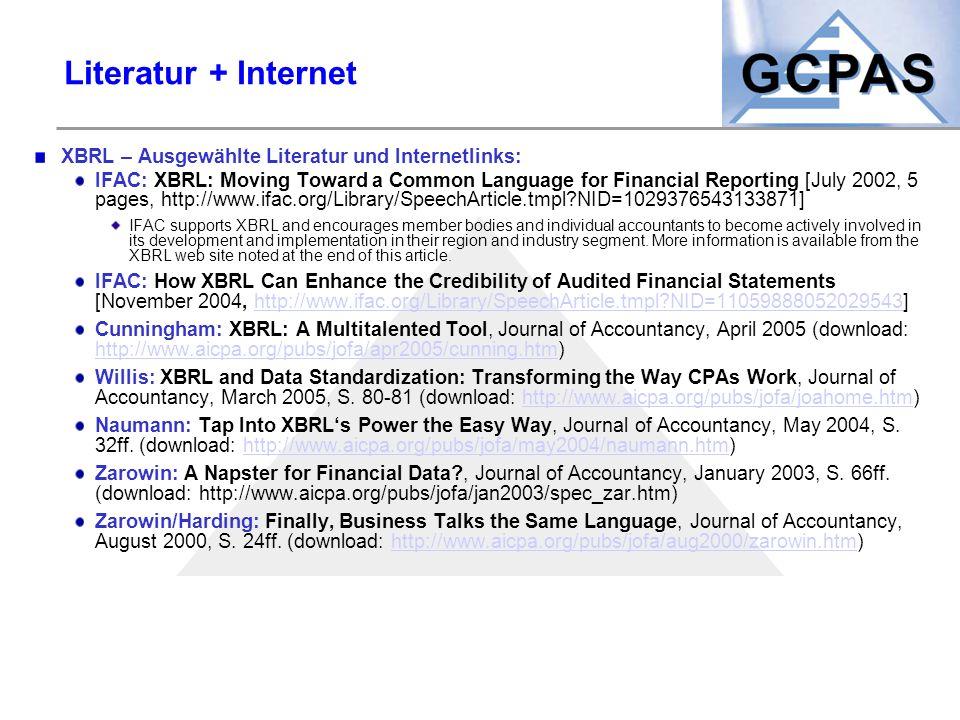 Literatur + Internet XBRL – Ausgewählte Literatur und Internetlinks: