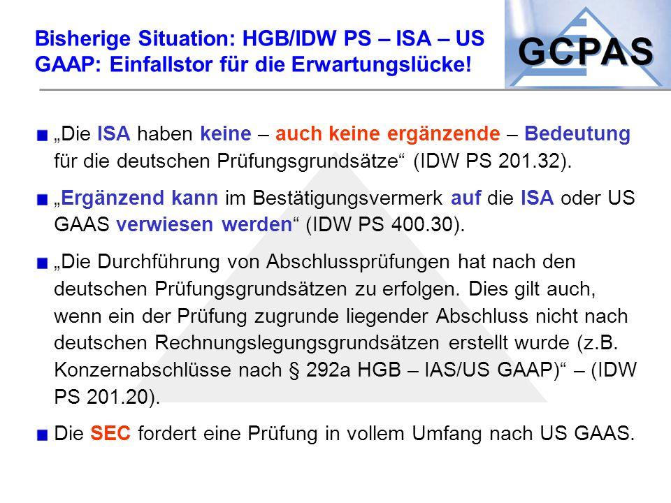 Bisherige Situation: HGB/IDW PS – ISA – US GAAP: Einfallstor für die Erwartungslücke!