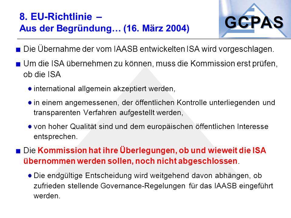 8. EU-Richtlinie – Aus der Begründung… (16. März 2004)