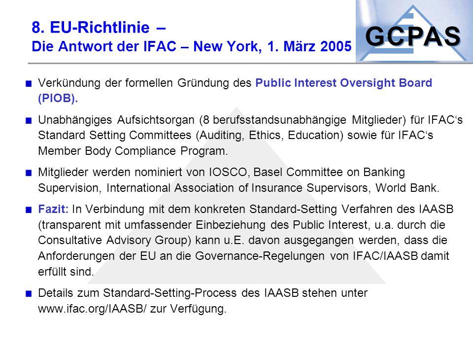 8. EU-Richtlinie – Die Antwort der IFAC – New York, 1. März 2005