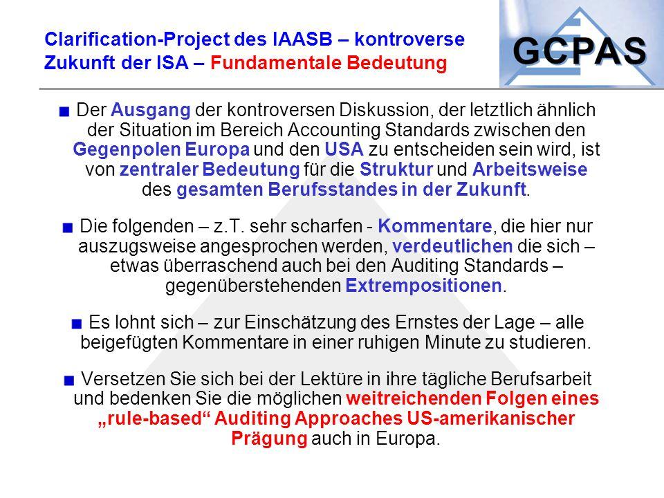 Clarification-Project des IAASB – kontroverse Zukunft der ISA – Fundamentale Bedeutung