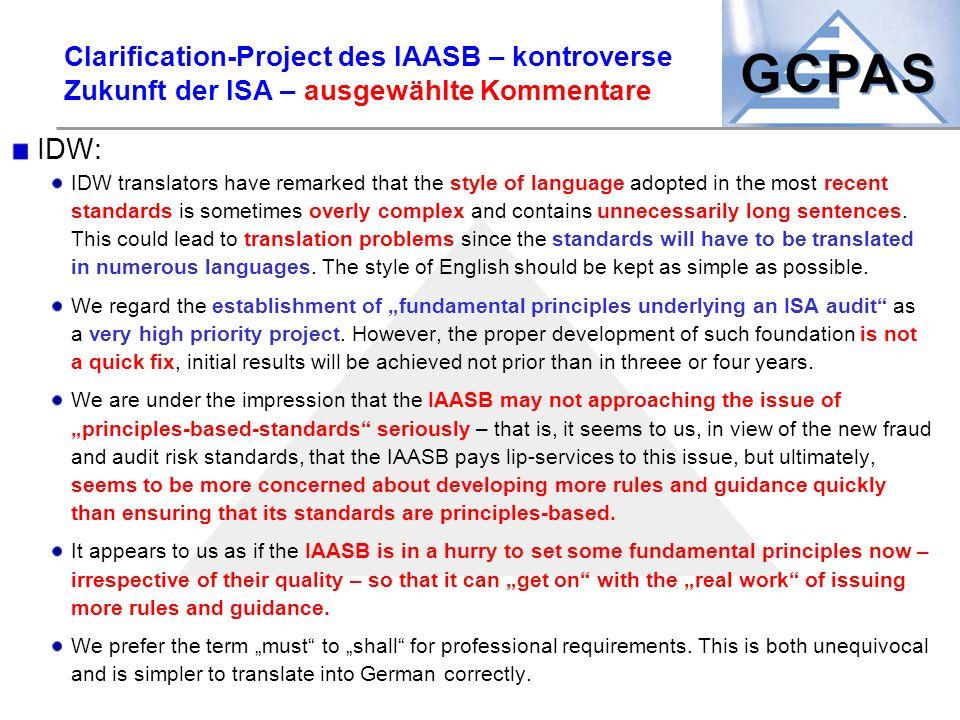 Clarification-Project des IAASB – kontroverse Zukunft der ISA – ausgewählte Kommentare