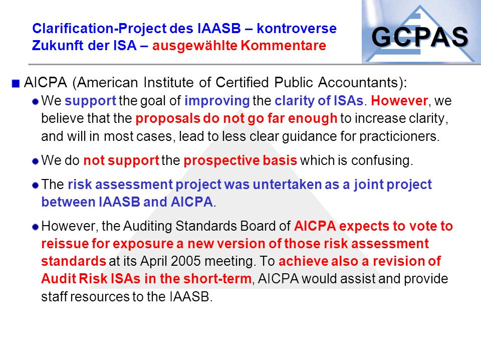 AICPA (American Institute of Certified Public Accountants):
