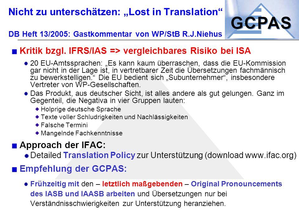 """Nicht zu unterschätzen: """"Lost in Translation DB Heft 13/2005: Gastkommentar von WP/StB R.J.Niehus"""