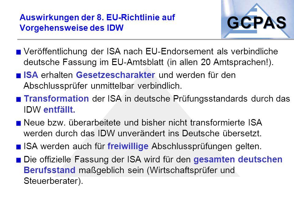 Auswirkungen der 8. EU-Richtlinie auf Vorgehensweise des IDW