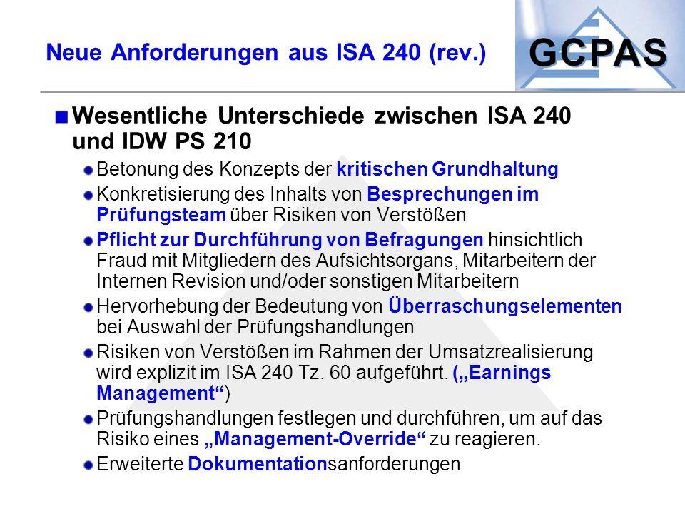 Neue Anforderungen aus ISA 240 (rev.)