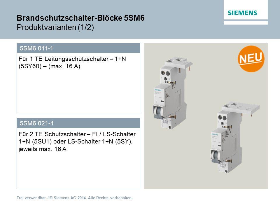 Brandschutzschalter-Blöcke 5SM6 Produktvarianten (1/2)