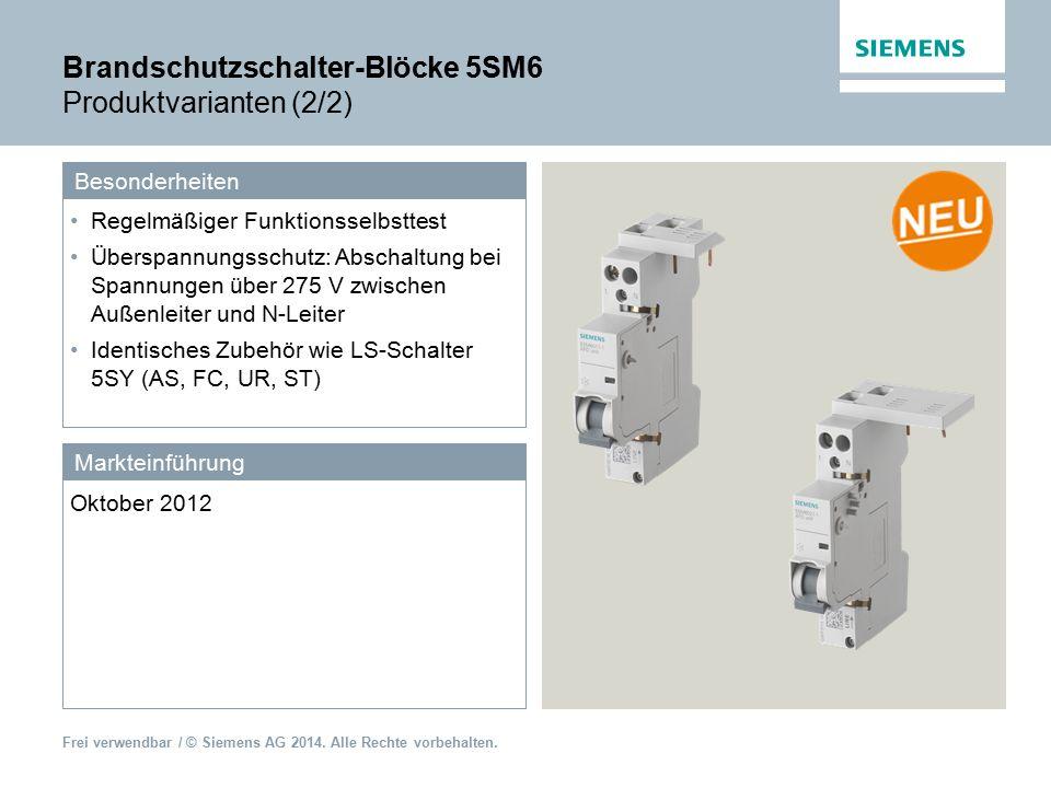 Brandschutzschalter-Blöcke 5SM6 Produktvarianten (2/2)