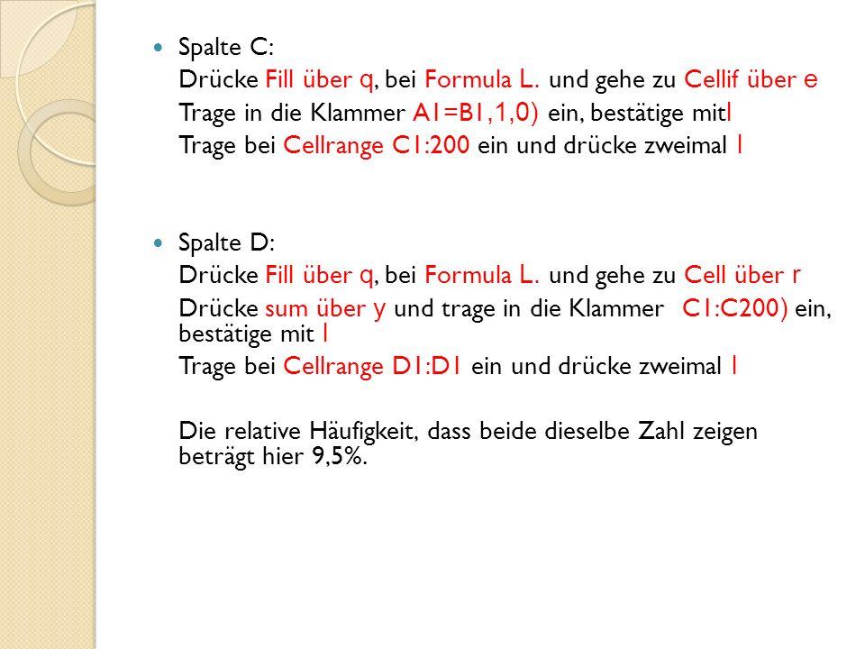 Spalte C: Drücke Fill über q, bei Formula L. und gehe zu Cellif über e. Trage in die Klammer A1=B1,1,0) ein, bestätige mitl.