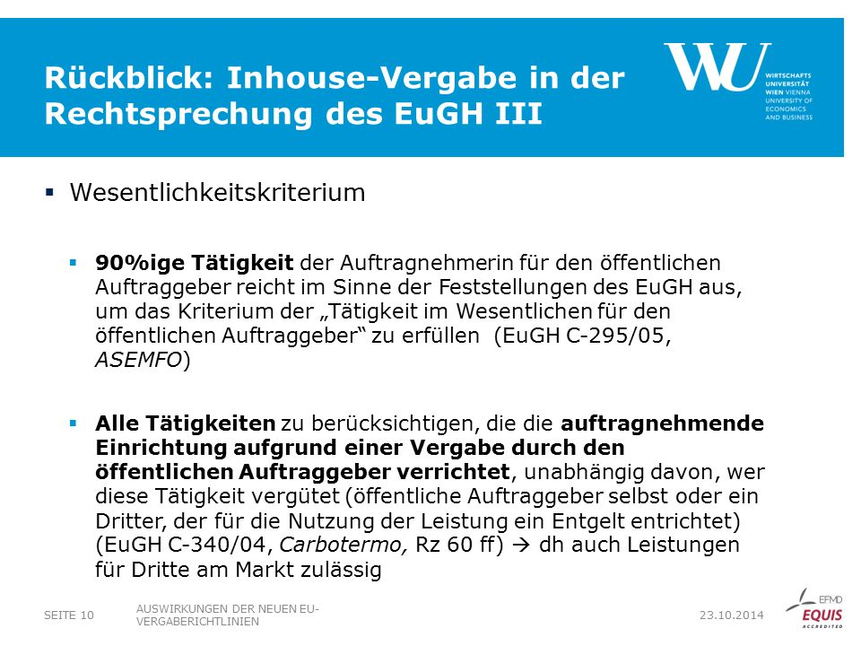 Rückblick: Inhouse-Vergabe in der Rechtsprechung des EuGH III