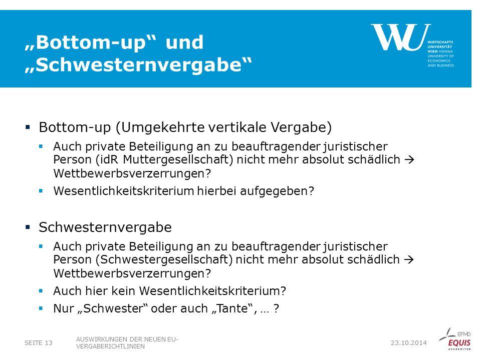 """""""Bottom-up und """"Schwesternvergabe"""