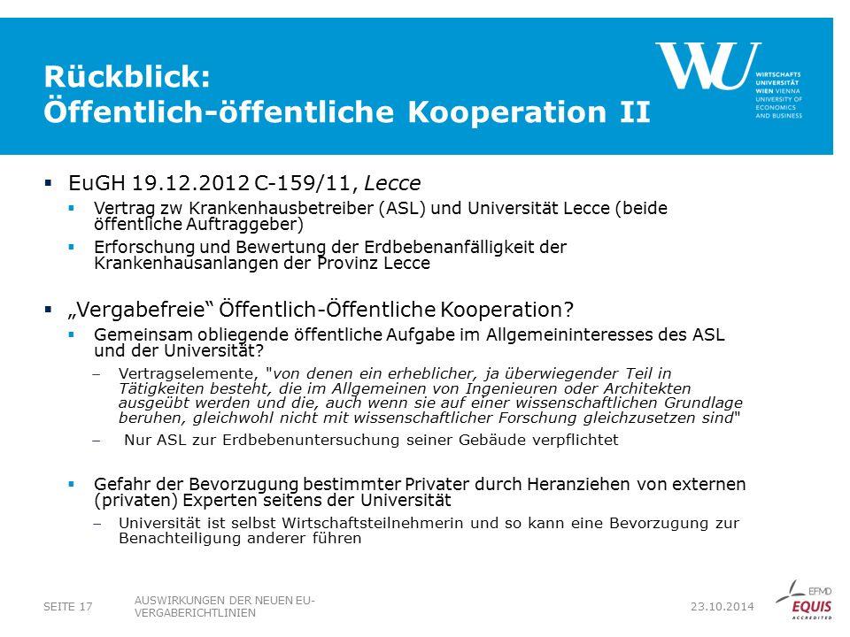 Rückblick: Öffentlich-öffentliche Kooperation II