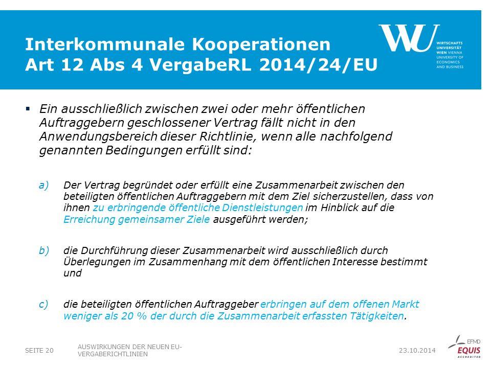 Interkommunale Kooperationen Art 12 Abs 4 VergabeRL 2014/24/EU
