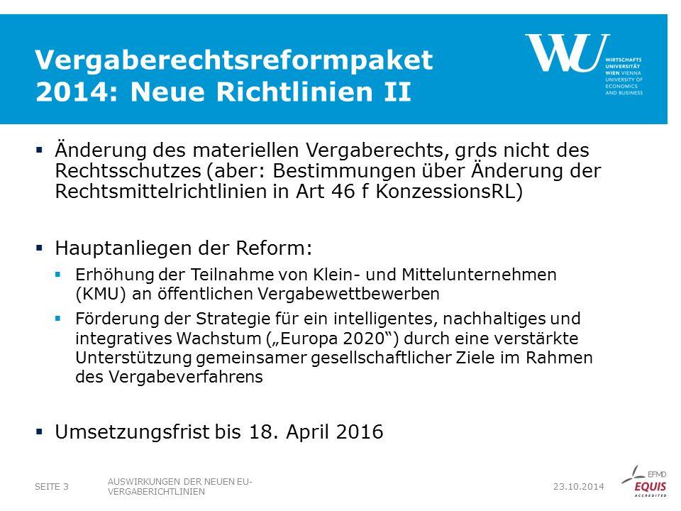 Vergaberechtsreformpaket 2014: Neue Richtlinien II