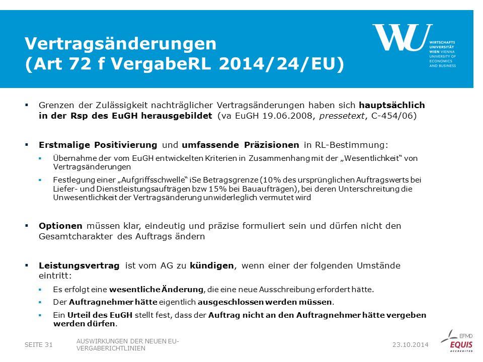 Vertragsänderungen (Art 72 f VergabeRL 2014/24/EU)