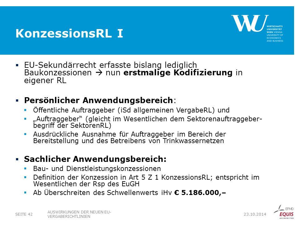 KonzessionsRL I EU‑Sekundärrecht erfasste bislang lediglich Baukonzessionen  nun erstmalige Kodifizierung in eigener RL.