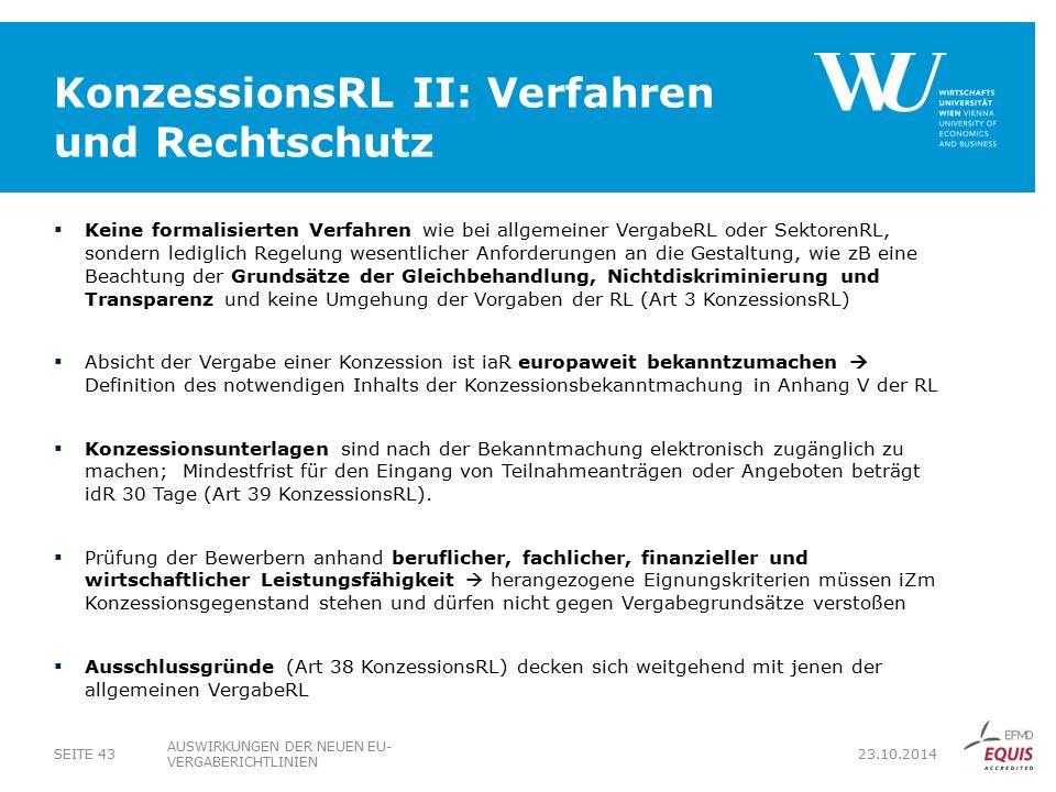 KonzessionsRL II: Verfahren und Rechtschutz