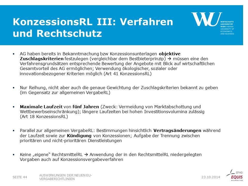 KonzessionsRL III: Verfahren und Rechtschutz