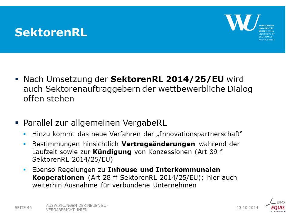 SektorenRL Nach Umsetzung der SektorenRL 2014/25/EU wird auch Sektorenauftraggebern der wettbewerbliche Dialog offen stehen.