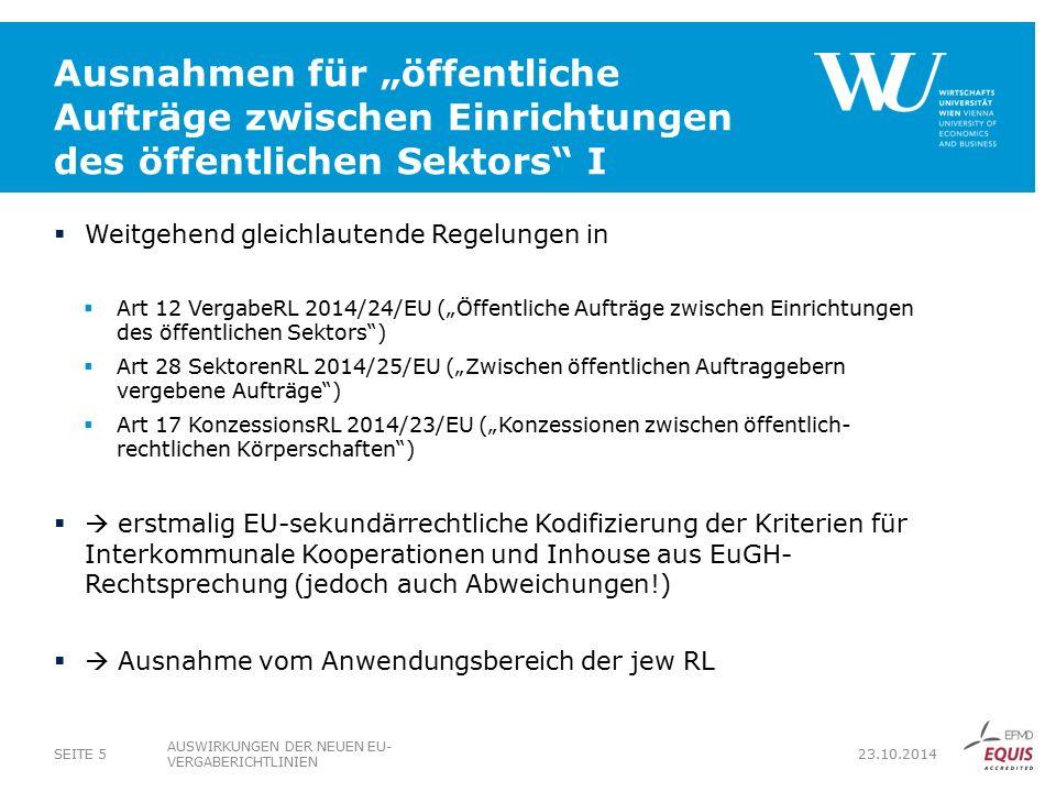 """Ausnahmen für """"öffentliche Aufträge zwischen Einrichtungen des öffentlichen Sektors I"""