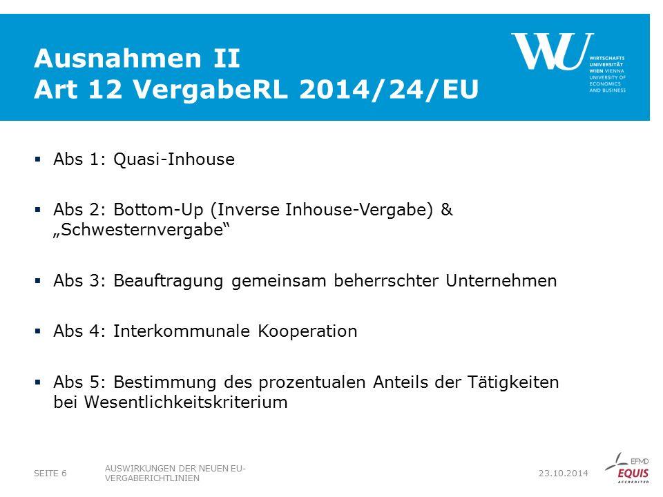 Ausnahmen II Art 12 VergabeRL 2014/24/EU
