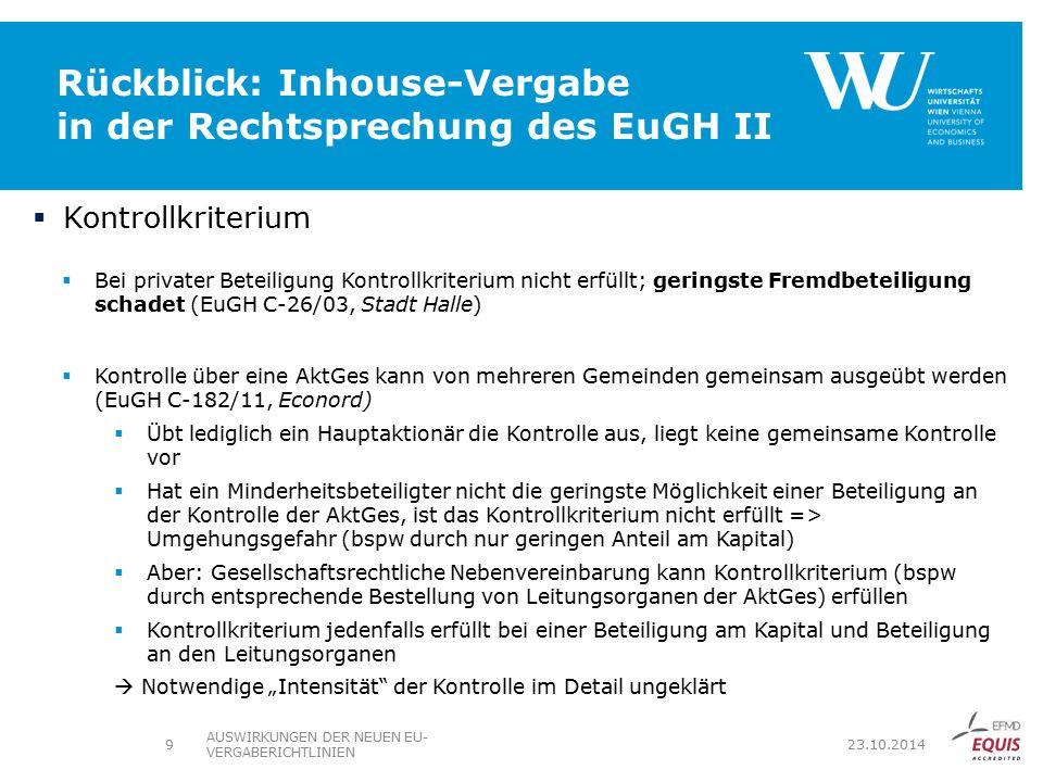 Rückblick: Inhouse-Vergabe in der Rechtsprechung des EuGH II
