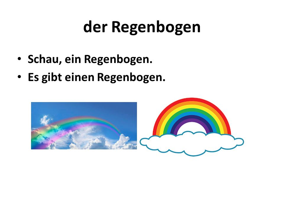 der Regenbogen Schau, ein Regenbogen. Es gibt einen Regenbogen.