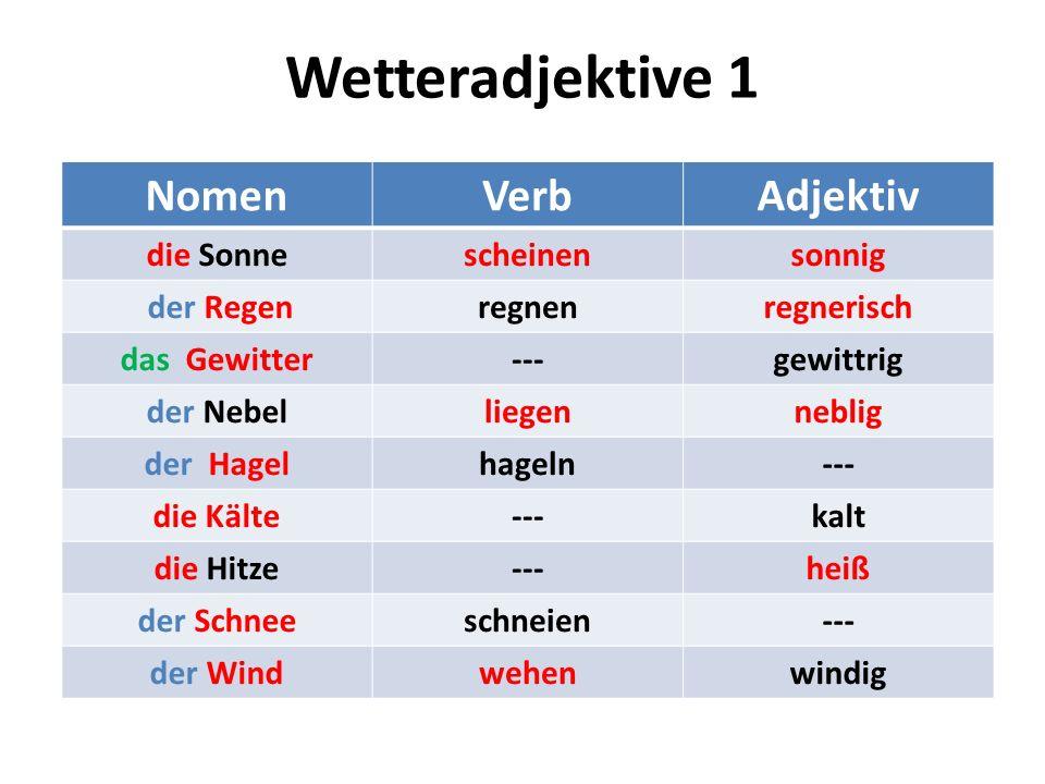 Wetteradjektive 1 Nomen Verb Adjektiv die Sonne scheinen sonnig